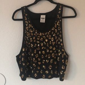 Cheetah Print Sequin Muscle Tank
